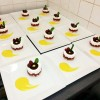 Mousse vanille coeur coulant framboise