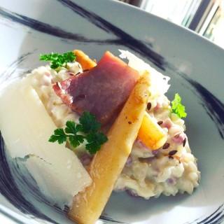 Risotto au jambon de Vendée et asperges blanches
