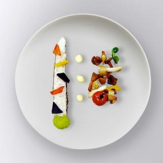 Dorade royale aux champignons et légumes glacés