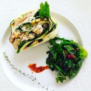 Lasagnes au maïs, épinards, champignons