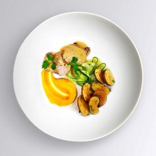 Mignon de porc, sauce au cidre & légumes du moment