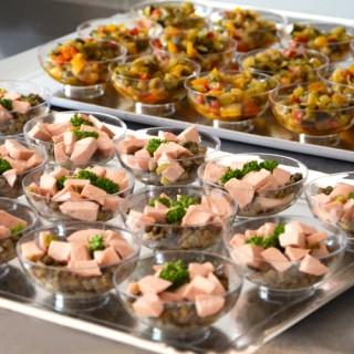 Salade de lentilles et cervelas, ratatouille fine et poisson du moment