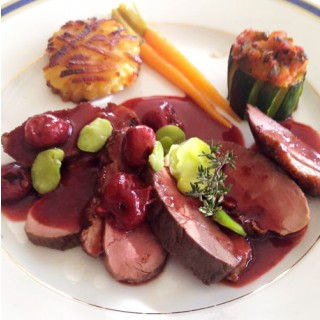 Magret de canard aux griottes
