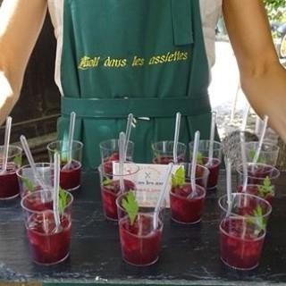 Verrine gelée de vin rouge fraise & menthe