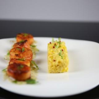 St-Jacques tandoori, risotto aux épices de briyani, fenouil croquant aux graines de coriandre et citron vert