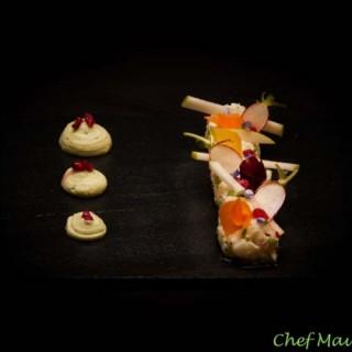 Ceviche de cabillaud au citron vert et piment doux, chantilly avocat et wasabi