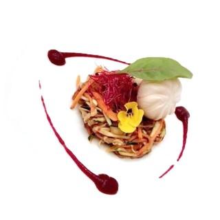 Salade de légumes Thaï, purée de betterave rouge