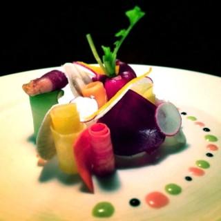 Magret de canard fumée, potager de légumes