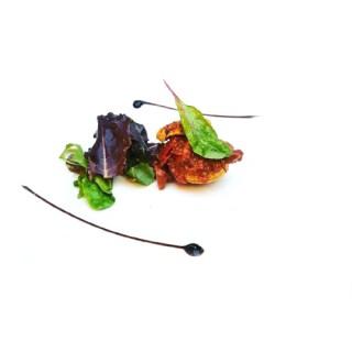 Croustillant de chevreuil au yuzu et shiitake, salade de jeunes pousses