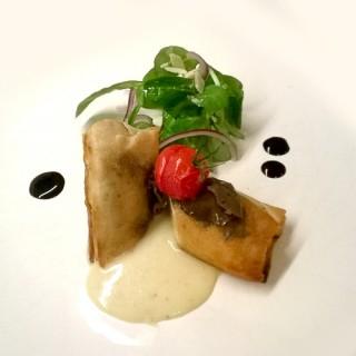 Croustillant de Volaille, Crème de Jurançon, Salade Fraicheur