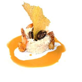 Risotto de champignons aux gambas jus de crustacés à la fève de Tonka