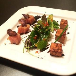 Chaud et froid de thon Albacore et son mesclun de salade