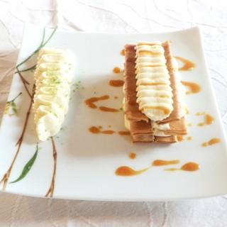 Mille-feuille de crêpes dentelles, caramel au beurre salé