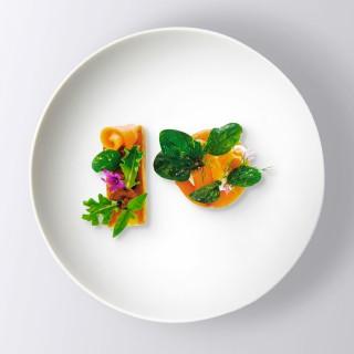 Pain perdu ail basilic et tomates confites saumon mariné épinards et ciboulette