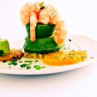 Gambas avocat orange